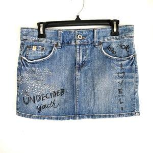 Blue Jean Jeweled Graffiti Mini Skirt